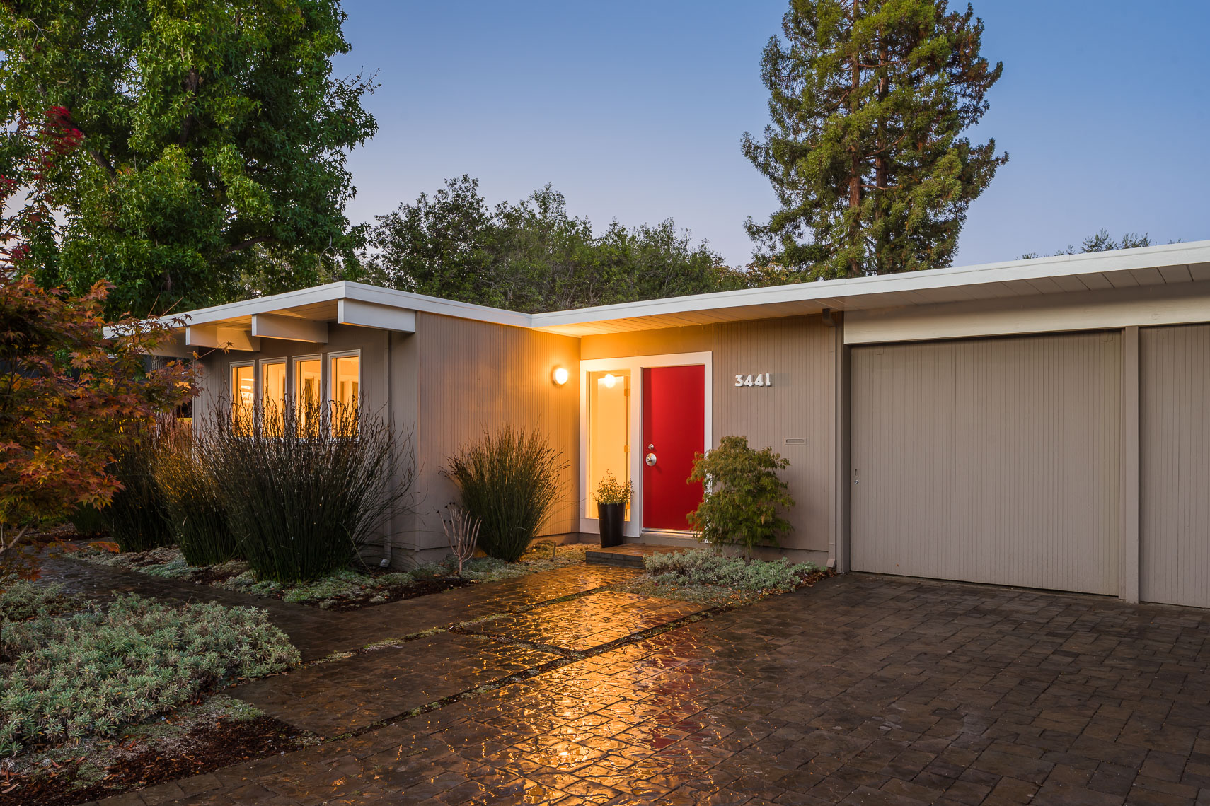 Eichler Home Exterior-Twilight